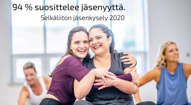 Kaksi naista hymyilee ja halaa toisiaan jumppatunnilla, tekstinä 94 % suosittelee jäsenyyttä, jäsenkysely 2020.