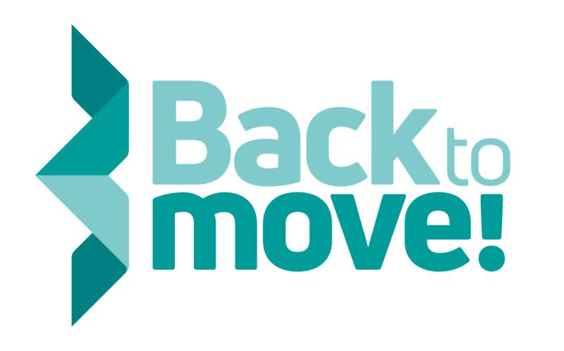 Turkoosi Back to Move! -logo, jossa vasemmassa reunassa origami.