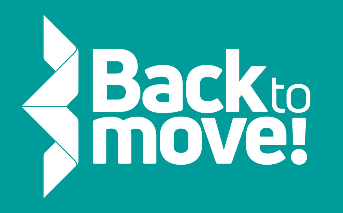 Back to Move! -logo turkoosilla taustalla, vasemmalla origamimuoto
