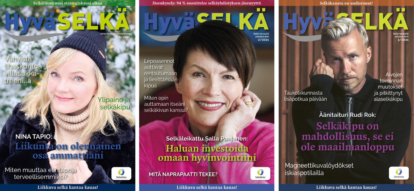 Kolme Hyvä Selkä -lehden kansikuvaa.