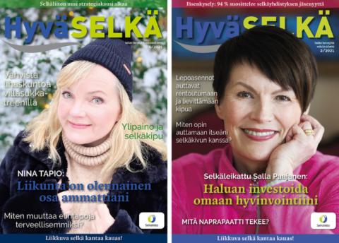 Kaksi Hyvä Selkä -lehden kansikuvaa, kannessa Nina Tapio ja Salla Paajanen.