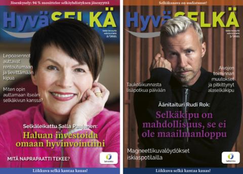 Kaksi Hyvä Selkä -lehden kansikuvaa, kansissa Salla Paajanen ja Rudi Rok.