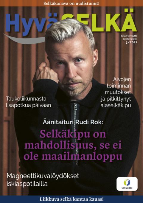Hyvä Selkä lehden kansikuva, kuvassa Rudi Rok.