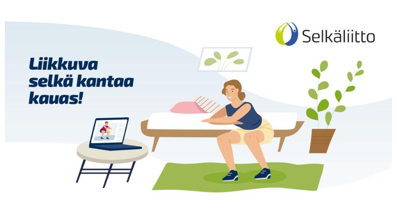 Piirroskuva, nainen tekee nettijumppaa kotona, Selkäliiton logo, teksti Liikkuva selkä kantaa kauas.