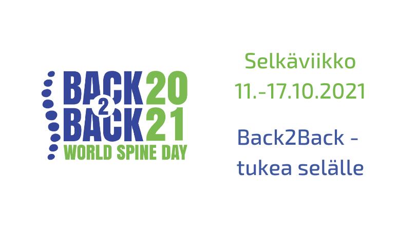 Selkäviikon ajankohta 11.-17.10. ja teema Back2Back - tukea selälle.