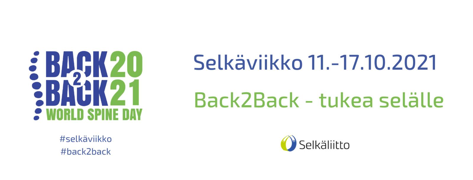 Selkäviikko 11.-17.10.2021, Back2Back - tukea selälle.