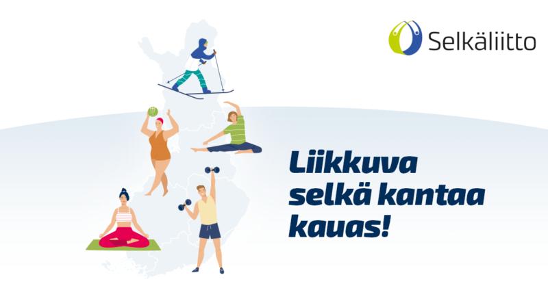 Eri liikuntaleja harrastavia piirroshahmoja Suomen kartalla.